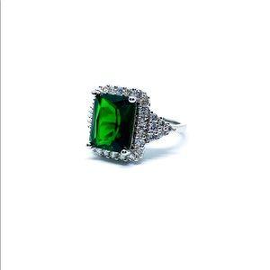 Princess Cut Emerald Sterling Silver Ring